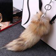 Móc khóa lông đuôi chồn nâu dài 30 cm