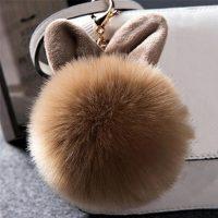 Móc khóa bông xù tai thỏ lông nhân tạo cực mịn