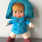 Búp bê Masha nhồi bông áo ấm mùa đông xanh