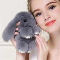 Móc khoá thỏ bông xù lông xám nhân tạo 13 cm