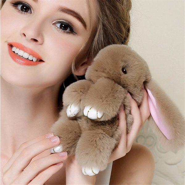 Móc khoá thỏ bông xù lông nhân tạo 13 cm