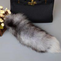 Móc khóa lông đuôi chồn xám husky dài 44 cm