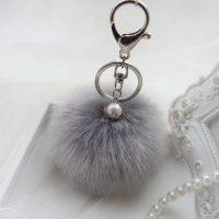 Móc khóa bông xù đính hột lông thỏ nhân tạo xám