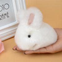 Móc khoá thỏ bông xù lông trắng mịn 9.5 cm