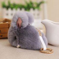 Móc khoá thỏ bông xù lông xám mịn 9.5 cm