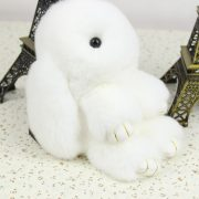 Móc khoá thỏ bông xù lông trắng nhân tạo 18 cm