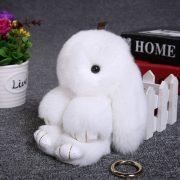 Móc khoá thỏ bông xù lông trắng nhân tạo 13 cm