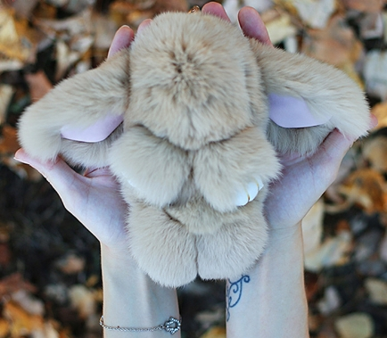 Móc khoá thỏ bông xù lông nâu nhân tạo 18 cm