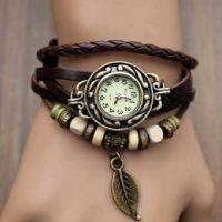 Đồng hồ thời trang cổ điển kiêm vòng đeo tay chiếc lá