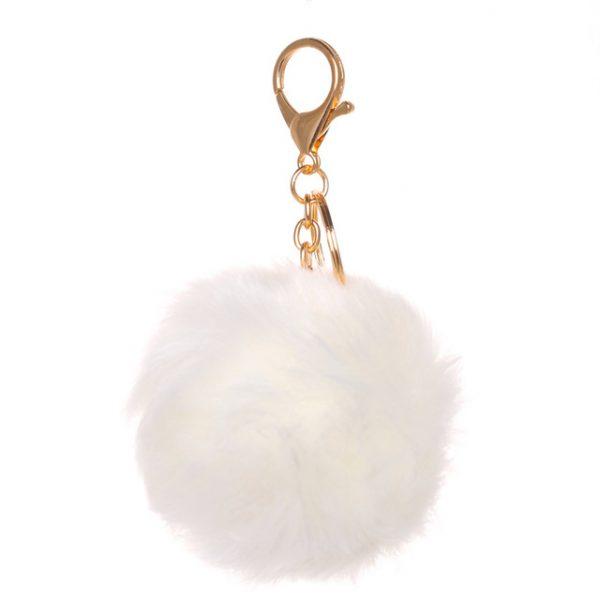 Móc khóa lông thỏ bông xù trắng nhân tạo cực mịn