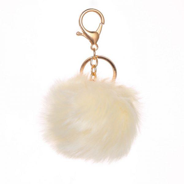 Móc khóa lông thỏ bông xù trắng ivory nhân tạo cực mịn