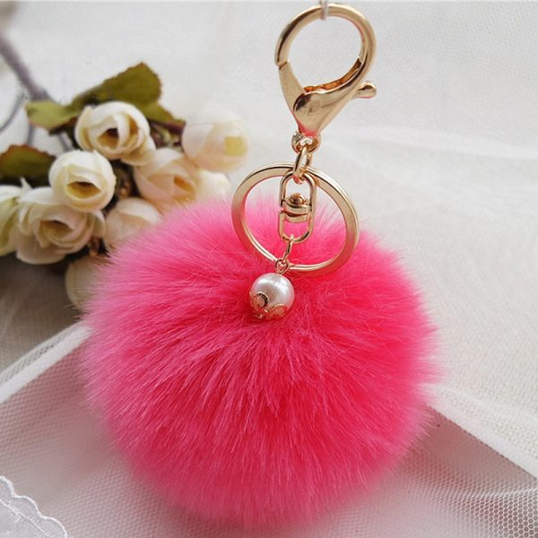 Móc khóa bông xù đính hột lông thỏ nhân tạo hồng đậm