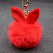 Móc khóa bông xù tai thỏ lông đỏ cực mịn