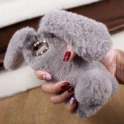 Ốp lưng thỏ bông xù lông nhân tạo xám cho iphone 7 plus / 7s plus / 8 plus
