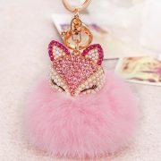 Móc khóa bông xù cáo hồng đính đá lông thỏ nhân tạo cực mịn
