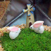 Cặp thỏ tai dài mini phụ kiện trang trí tiểu cảnh terrarium