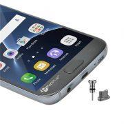 2 nút aluminum chống bụi tai nghe và cổng sạc Micro USB