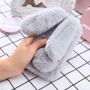 Ốp lưng thỏ bông xù lông nhân tạo xám cho iphone 6 plus / 6s plus