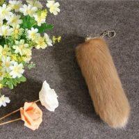 Móc khóa lông đuôi chồn khaki dài 30 cm