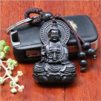 Móc khóa phong thủy Phật Bà Quan Âm chất liệu gỗ mun