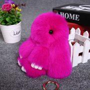 Móc khoá thỏ bông xù lông hồng nhân tạo 18 cm