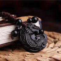 Móc khóa phong thủy Rồng Ngậm Long Châu chất liệu gỗ mun
