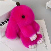 Móc khoá thỏ bông xù lông hồng nhân tạo 13 cm