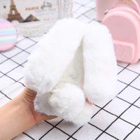 Ốp lưng thỏ bông xù lông nhân tạo trắng cho iphone 6 plus / 6s plus