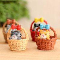 Mèo con trong giỏ kawaii chii dễ thương trang trí tiểu cảnh