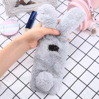 Ốp lưng thỏ bông xù lông nhân tạo xám cho Samsung s7 edge