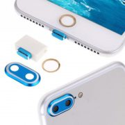 4 nút silicone aluminum chống bụi bảo vệ cổng sạc camera home iphone 7 Plus