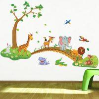 Decal dán tường Vườn Thú 60 x 90 cm trang trí phòng cho bé