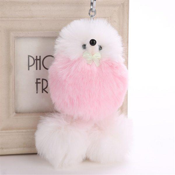 Móc khoá chó Puggy bông xù lông trắng hồng mịn 12 cm