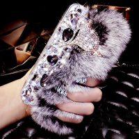 Ốp lưng cáo bông xù đính đá lông thỏ nhân tạo cho iphone 6 plus / 6s plus