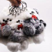Móc khoá chó Puggy bông xù lông thỏ thật trắng thân xám mịn 12 cm