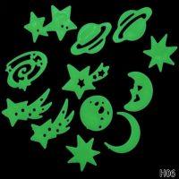 Bộ 12 Ngôi sao trái đất mặt trăng dạ quang phát sáng dán tường trần nhà