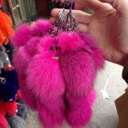 Móc khoá chồn bông xù lông hồng nhân tạo 17cm