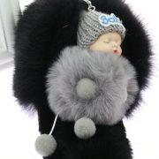 Móc khóa bé bông xù Baby Doll Pompom lông thỏ nhân tạo rất mịn