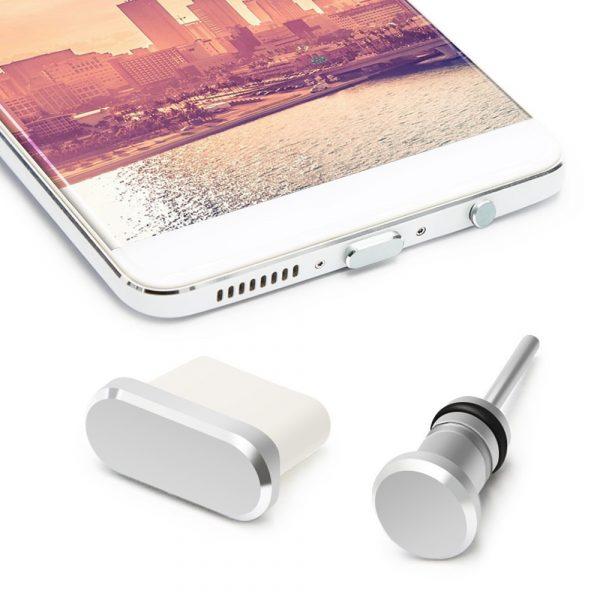2 nút silicone ALUMINUM chống bụi tai nghe và cổng sạc usb 3.1 type c