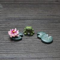 Bộ tượng chú ếch con phụ kiện trang trí tiểu cảnh terrarium
