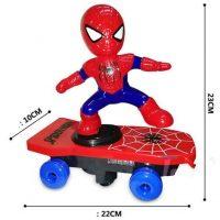 Đồ chơi người nhện trượt ván xoay 360 độ phát sáng âm thanh vui nhộn