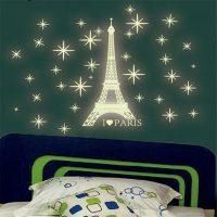 Bộ decal tháp eiffel paris huyền bí dạ quang phát sáng dán tường trần nhà