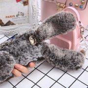 Ốp lưng thỏ bông xù lông nhân tạo nâu cho iphone 6 plus / 6s plus