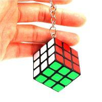 Móc khóa rubik 3x3x3 ABS Rubiks Magic Cube xoay trơn, góc nhẵn