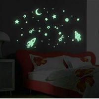 Bộ decal du hành vũ trụ dạ quang phát sáng dán tường trần nhà