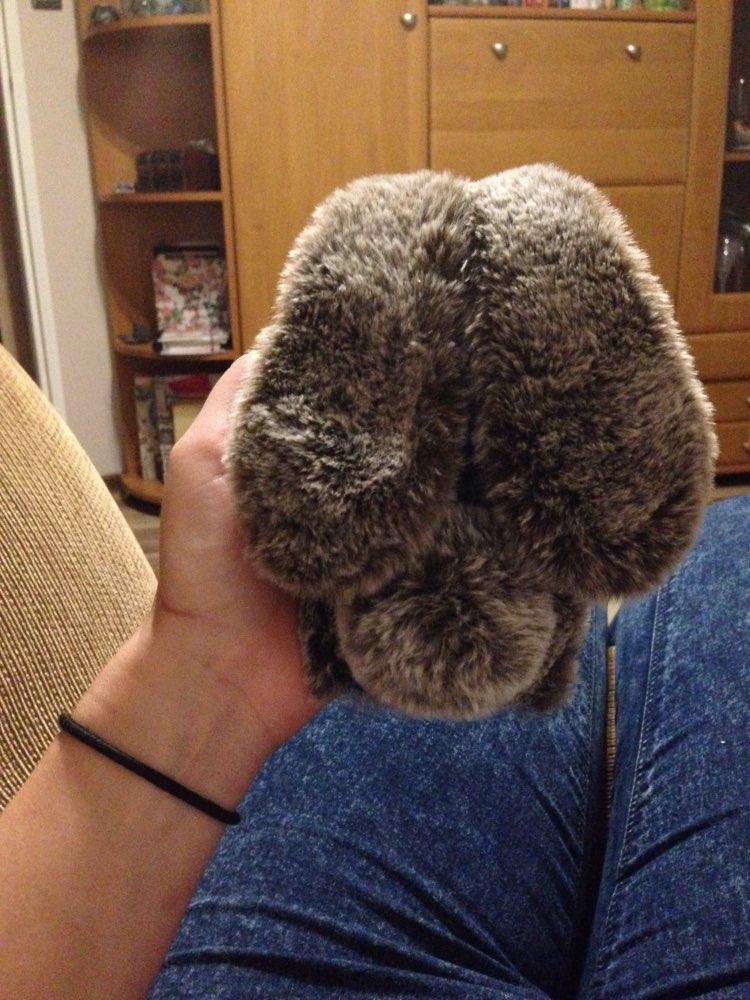 Ốp lưng thỏ bông xù lông nhân tạo xám nâu cho iphone 7 plus / 7s plus / 8 plus