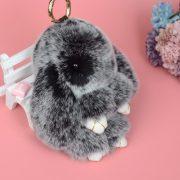 Móc khoá thỏ bông xù lông đen nhân tạo 18 cm