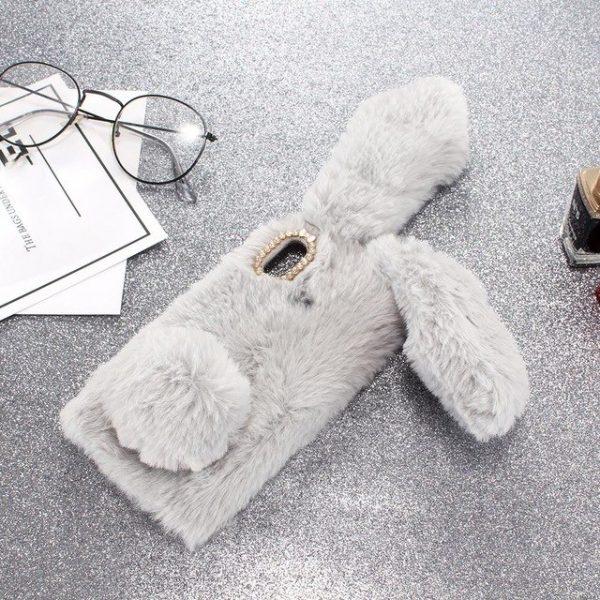 Ốp lưng thỏ bông xù lông nhân tạo xám cho iphone X / XS