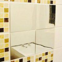 6 miếng decal đề can hiệu ứng gương soi tráng bạc dán tường