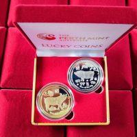 Cặp Tiền Đồng Xu Úc Heo Vàng Heo Bạc May Mắn Coin Australia Lucky